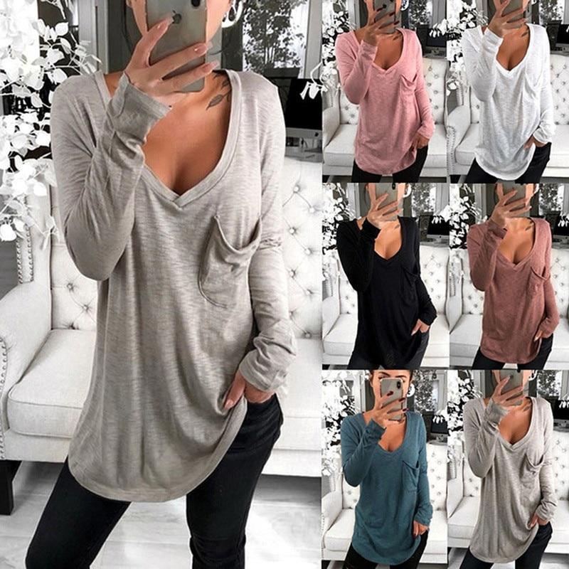 Hirigin, camiseta Coreana de otoño para mujer, Camiseta básica de manga larga con cuello en V ajustada, Top liso, camisa elástica sólida, ropa, camisetas ajustadas
