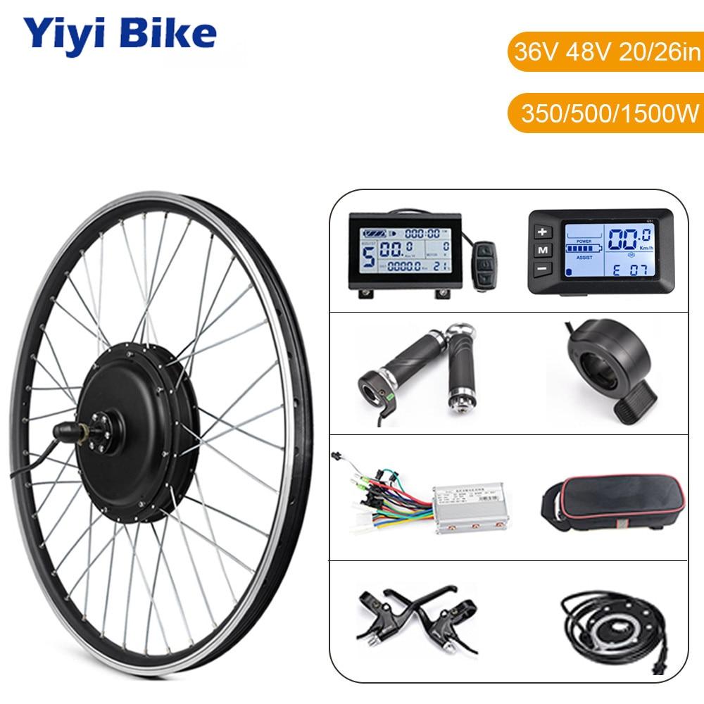 Ebike Conversion Kit 20in 26in 1500W Hub Motor Wheel Kit 36V 48V 500W Front Rear Electric Bike Motor Wheel E bike Conversion Kit
