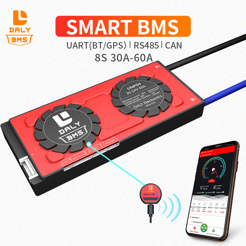 Bajo 30A 40A 60A inteligente BMS 8 3,2 V Bluetooth APP 24V 485 a USB dispositivo puede NTC UART LiFePO4 LTO Batteries2.3V/2,4 V conn