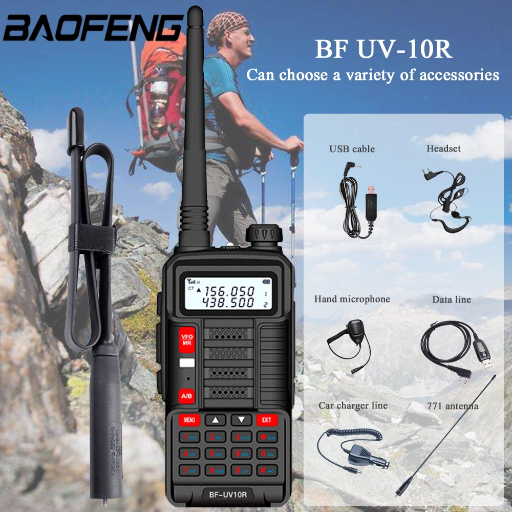Baofeng UV-10R اسلكية تخاطب 10W 8800mAh VHF UHF ثنائي الموجات اتجاهين CB هام راديو UV 10R المحمولة USB شحن راديو الإرسال والاستقبال