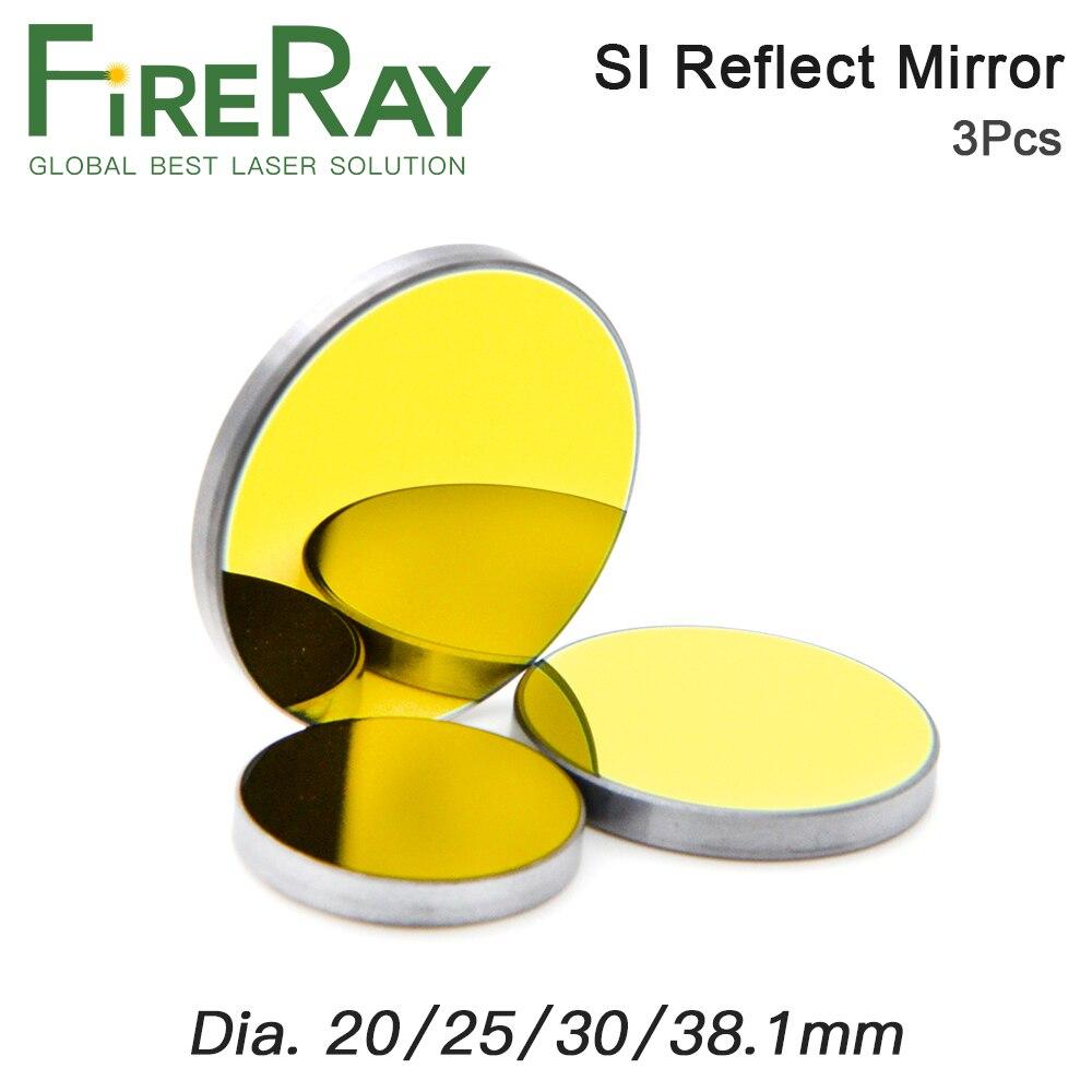 FireRay, 3 uds., Co2, espejo reflectante láser Si para grabado láser, cristales reflectores de silicona chapados en oro, Dia.19 20 25 30 38,1mm