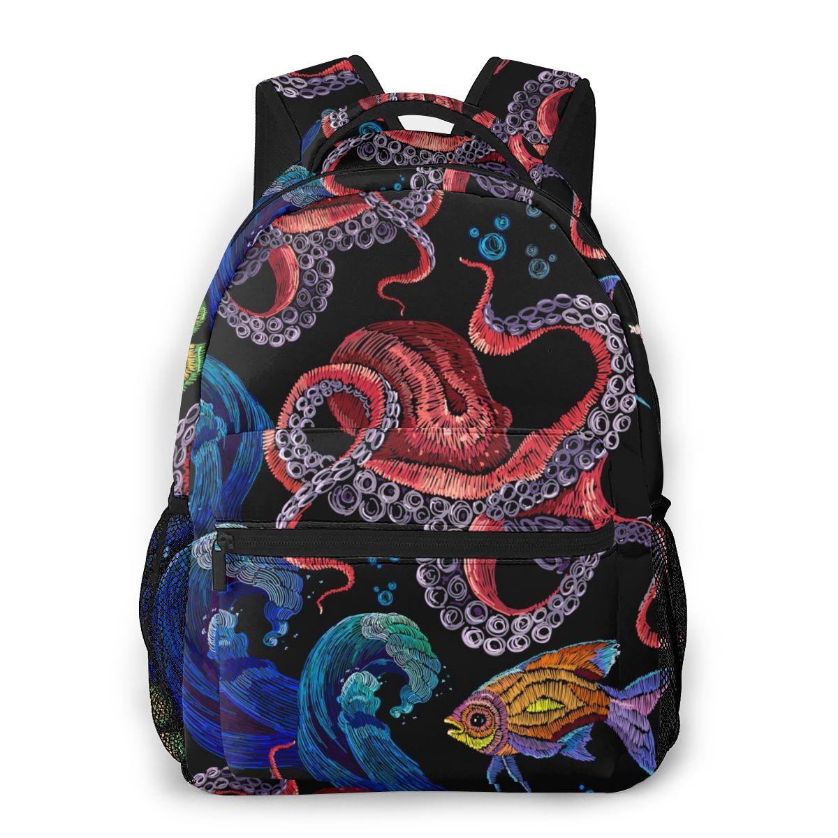 Mochila para adolescente con bordado de pulpo, ola de mar y peces tropicales, mochilas casuales para ordenador portátil, mochila escolar para estudiante y Universidad