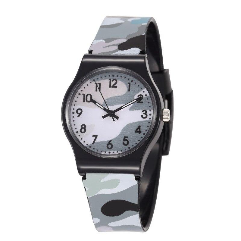 Relógio de Pulso de Quartzo Crianças Redondo Cinta Camuflagem Moda Presente Aniversário Ser88 1 Pçs Pvc