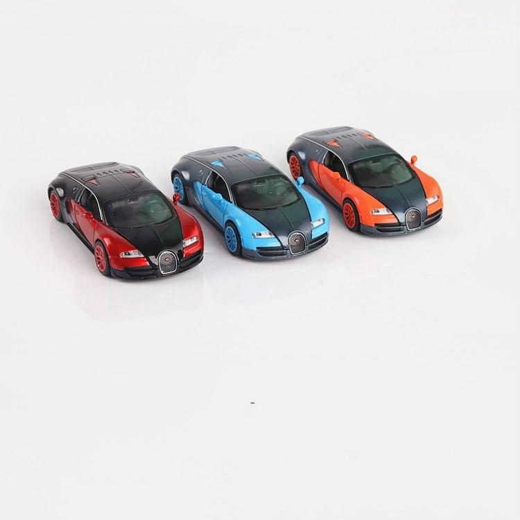 Bugatti veyron corrida carro liga três cores simulação acústica-veículos óticos 132 matal modelo de carro crianças carros clássicos brinquedos