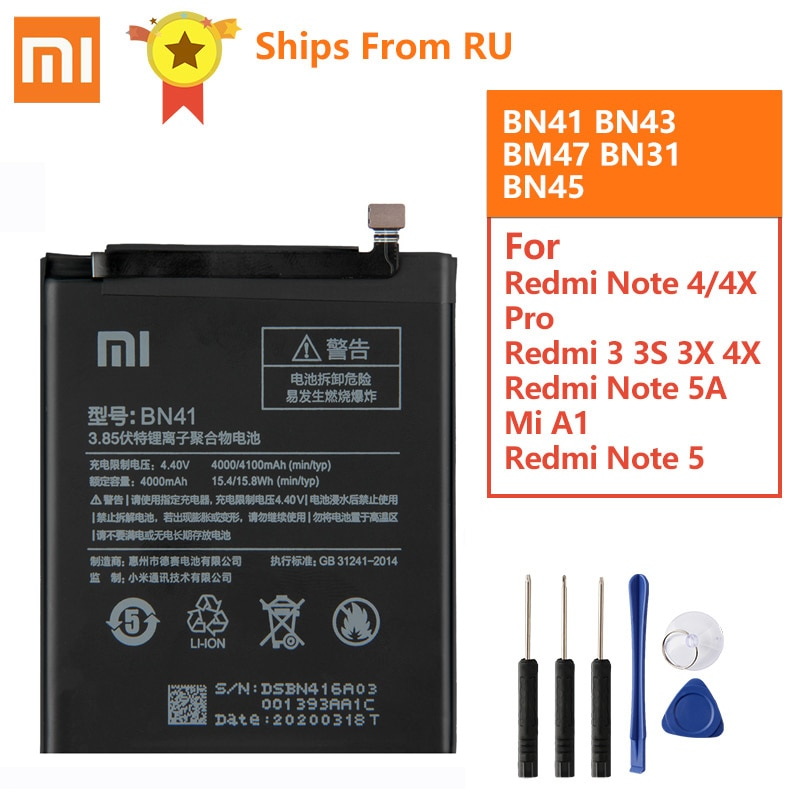 Batería Original BN41 BN43 BM47 para Xiaomi Redmi Nota 4 Hongmi Note4 Pro Note4X MTK Helio X20 Redmi 3S 3S Mi5X Mi note2 BN31 BN45