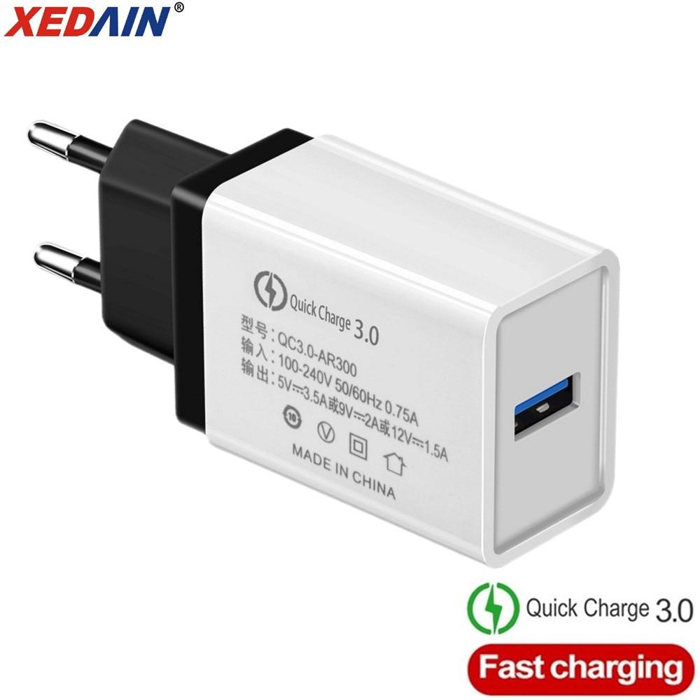 18W EU/USA carga rápida QC 3,0 cargadores de teléfono USB Cable cargador rápido cargador de pared para Samsung Xiaomi Huawei Android Micro Cables
