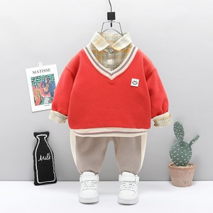 Toddler Boy Clothes Plaid Shirt Baby Girl Sport Suit Sweater + Shirt + Pants Boy Infant Long Sleeve Spring Autumn Tracksuit