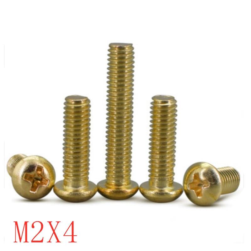 1000 Uds M2 * 4 m2x4 tornillo de la máquina de cabeza redonda phillips de latón