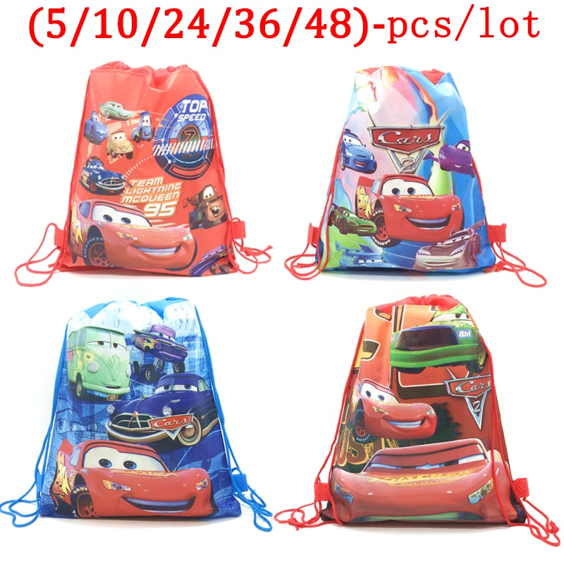 Disney Cars Lightning McQueen Birthday Party Backpack Gifts Non-woven Drawstring Bags Kids Boy Favor Shopping School Backpacks