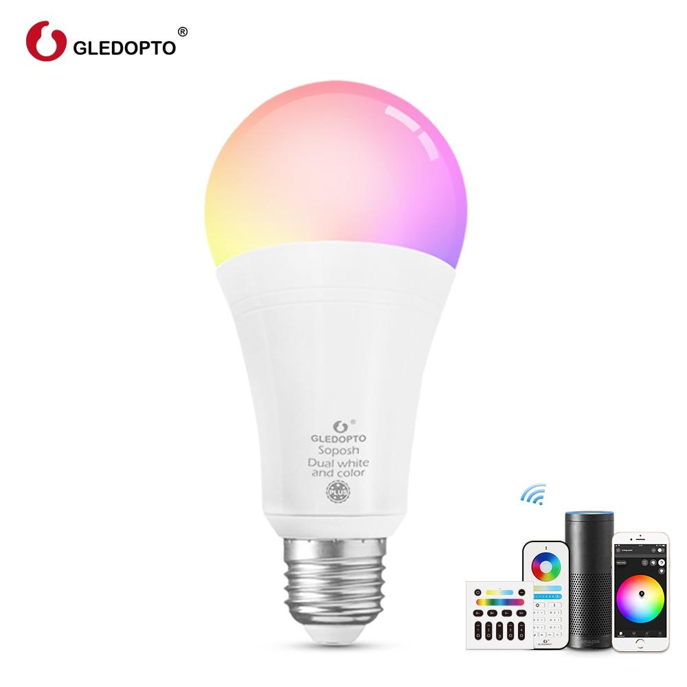 Gledopto RGBCCT  E27 12W LED smart color bulb Zigbee compatible gateway ,voice control with Alexa, RF remote control