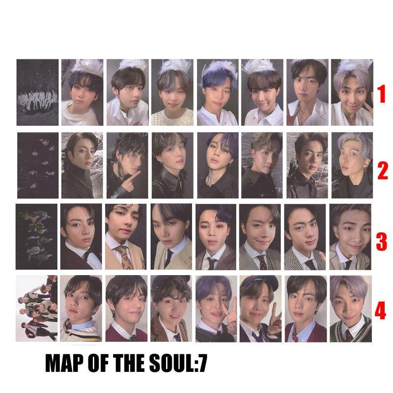 kpop lomo card bangtan boys album map of the soul persona member photocard set 30 cards 1 Pcs Kpop Bangtan Boys New Album MAP OF THE SOUL:7 JK V RM JIN SUGA JHOPE JIMIN PhotoCard Poster Lomo Card Fans Collection