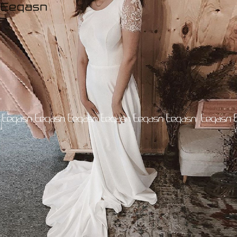 Vestidos de novia de manga corta de encaje estilo bohemio, vestido de...