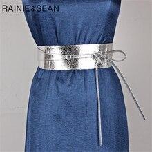RAINIE-Cinturón de piel sintética para mujer, correa de cuero suave, ancho, con lazo, para boda, diseñador de marca