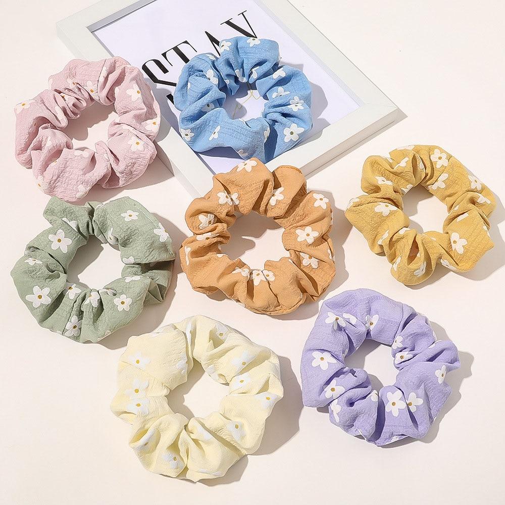 Cute Korean Fashion Hairbands Candy Color Flowers Hair Schrunchies For Women Ponytail Holder 7pcs/set Girls Scrunchies Set