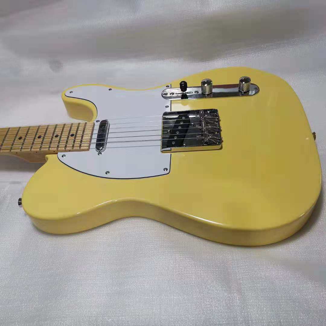 Tele Electric Guitar Yellow Color Basswood Guitar Body Maple Fingerboard Silver Hardware High Quality Free Shipping enlarge