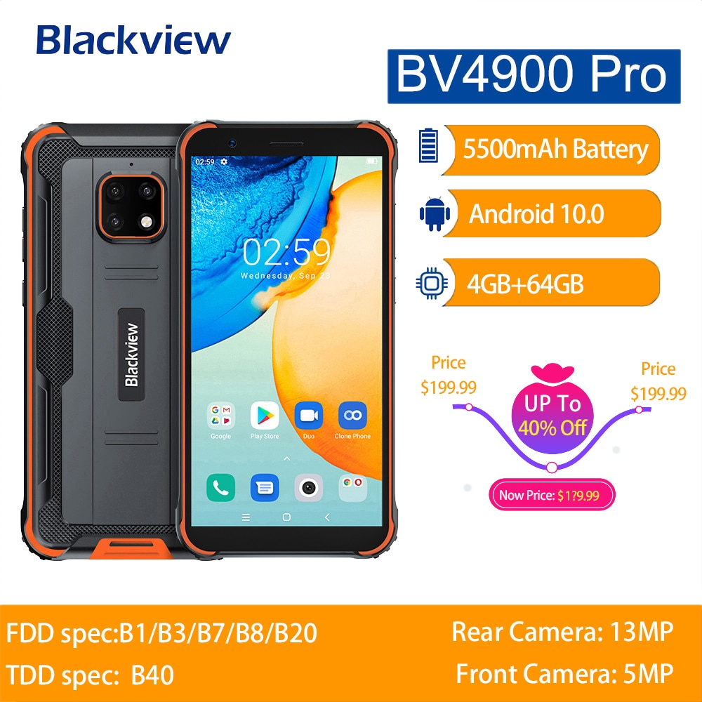 Blackview BV4900 Pro IP68 Rugged Phone Android 10 Waterproof Mobile Phone 5580mAh NFC 5.7 inch 4G Cellphone 4GB 64GB Octa Core