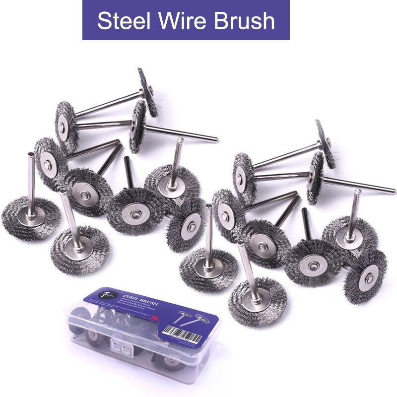 20pcs 25x3mm Metal Handle Steel Wire Wheel Brushes for Mini Drill Rotary Tools Metal Rust Removal Dremel Polishing Brush