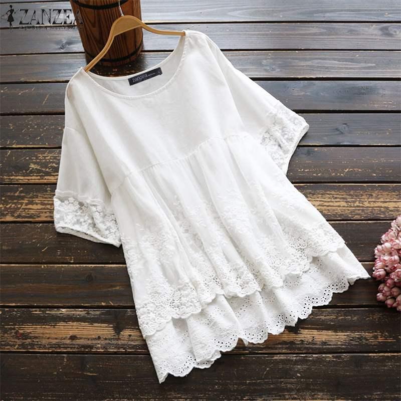 Blusa de encaje de verano ZANZEA Casual sólido hueco Patchwork camisa moda mujer manga corta de algodón túnica plisada Blusas femeninas