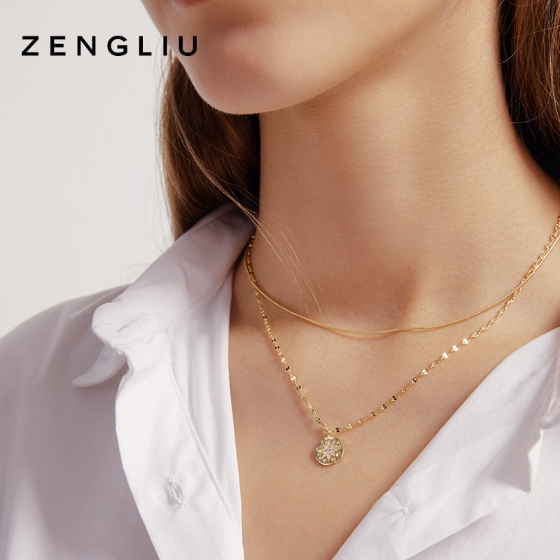 Zengliu Vintage Double Layer Twin Necklace Female Eight Awn Star Ins Style round Plate Pendant Non-m