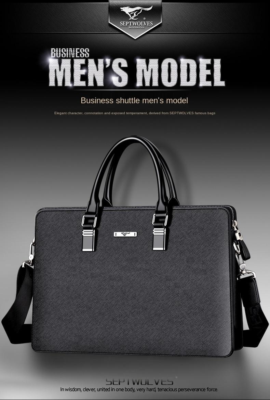 Handbag Men's Business Document Casual Men's Leather Single-Shoulder Bag Large Capacity Leather Bag High-End Men's Bag Fashion