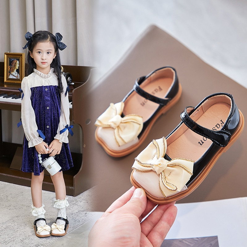 Childrens Leather Shoes Kids Bow Soft Bottom Princess Shoes Girls Dance Performance Shoes Casual Fla