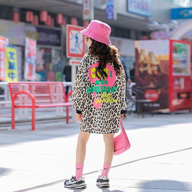 Kids Girls Leopard Print Long Hoodies 2021 Spring New Children Fashion Tops 6 8 10 12 years