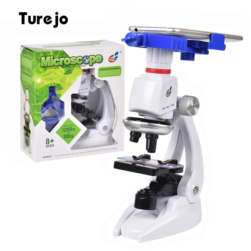 1200X Student Monocular Biological Microscope Set LED Home School Science Educational For Kids Child