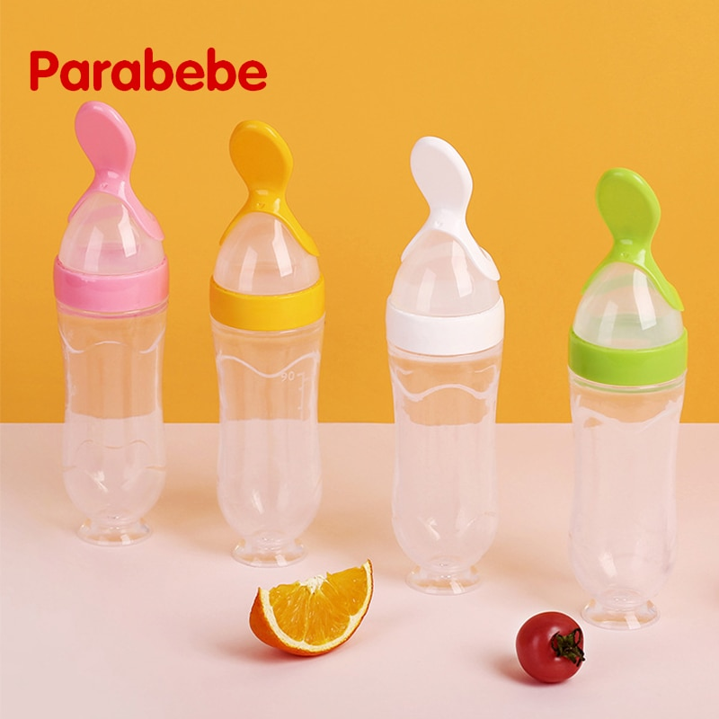 6*21cm Baby Squeezing Feeding Spoon  Infant Cereal Food Spoon Infant Cereal Supplement Silicone Feeding Bottle Training Spoon