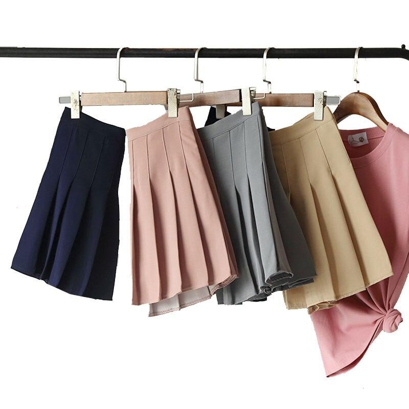 Женская плиссированная юбка с высокой талией, летняя Милая женская мини-юбка, модные повседневные женские короткие юбки, однотонные мини-юб...