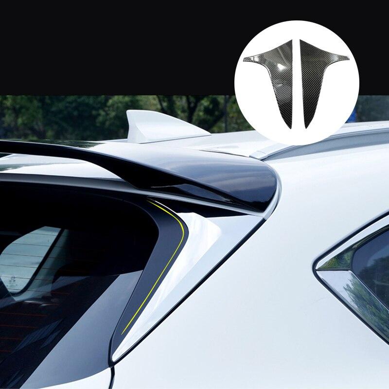 Para MAZDA CX-5 CX5 2017 2018 2019 de fibra de carbono 2020 + PU ventana trasera SPOILER lado triángulo recorte cubierta guarnición