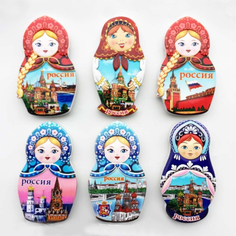 Russian Creative 3D Tourism Commemorative Gift Resin Magnet Matryoshka Doll Pocchr Refrigerator Stickers for Home Decor south african tourism memorial tree leopard refrigerator