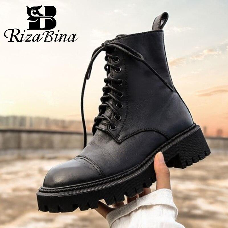 RIZABINA женские полусапожки из натуральной кожи; Женские ботинки; Сезон осень-зима; Модные крутые ботильоны женская обувь размер 34-39