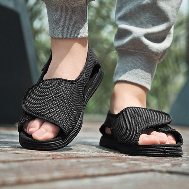 حذاء صيفي مريح لمرضى السكري بإبهام القدم وإبهام القدم ارتفاع القدم تورم رمز متوسط العمر وكبار السن صندل السكري