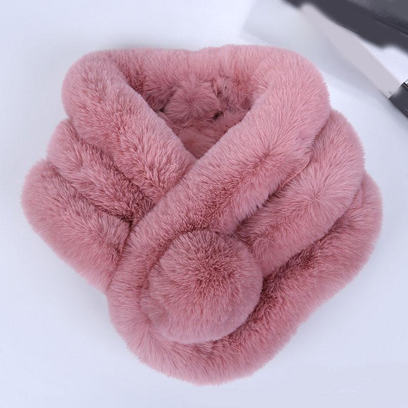 Bufanda de invierno de imitación de piel de conejo de color rosa para mujer bufanda cálida de moda gruesa de piel de imitación de piel bufandas de hierba Tippet Drop Ship