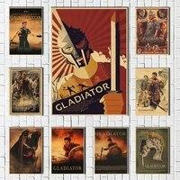 Affiches et imprimes de Film de gladiateur en papier kraft  images murales pour salon  decoration de Film Vintage  decoration de maison