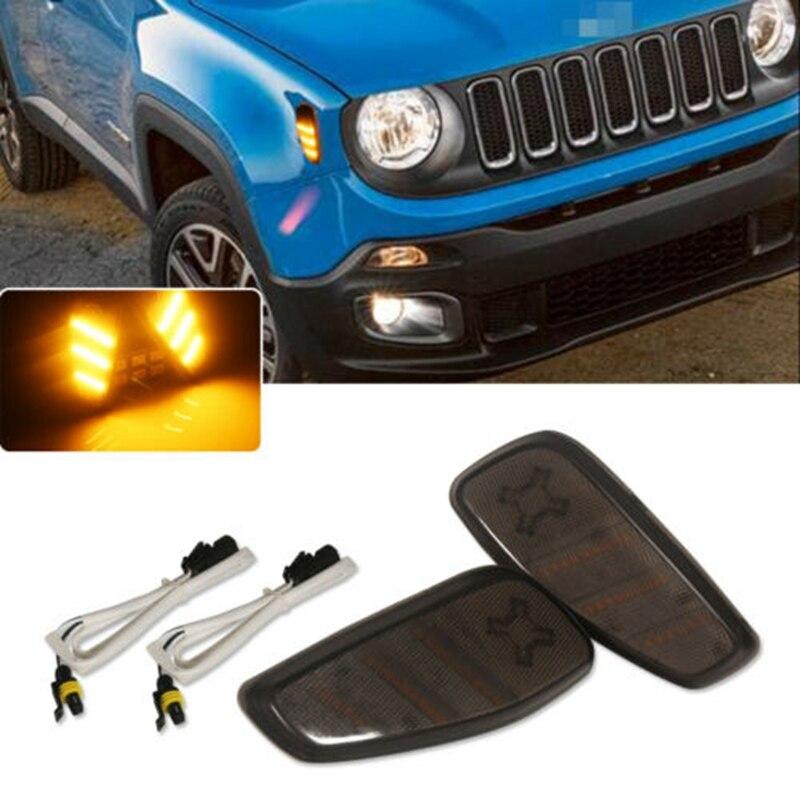 2 uds luces de indicador lateral de coche luz LED de intermitente ámbar Kit adecuado para Jeep Renegade 2015-2017 accesorios de coche de alta calidad