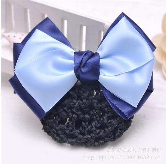 Professional hair accessories nurse bank hotel stewardess work net bag bow hair net diamond drill flower handmade gift FS036
