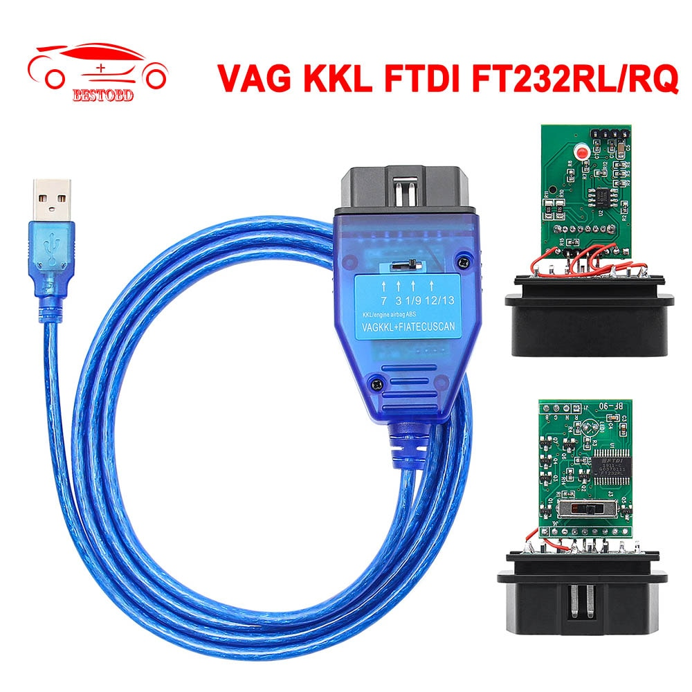 Диагностический кабель VAG COM 409 KKL FIATECUSCAN FTDI FT232RL/RQ OBD OBD2 для VW/Audi/Skoda