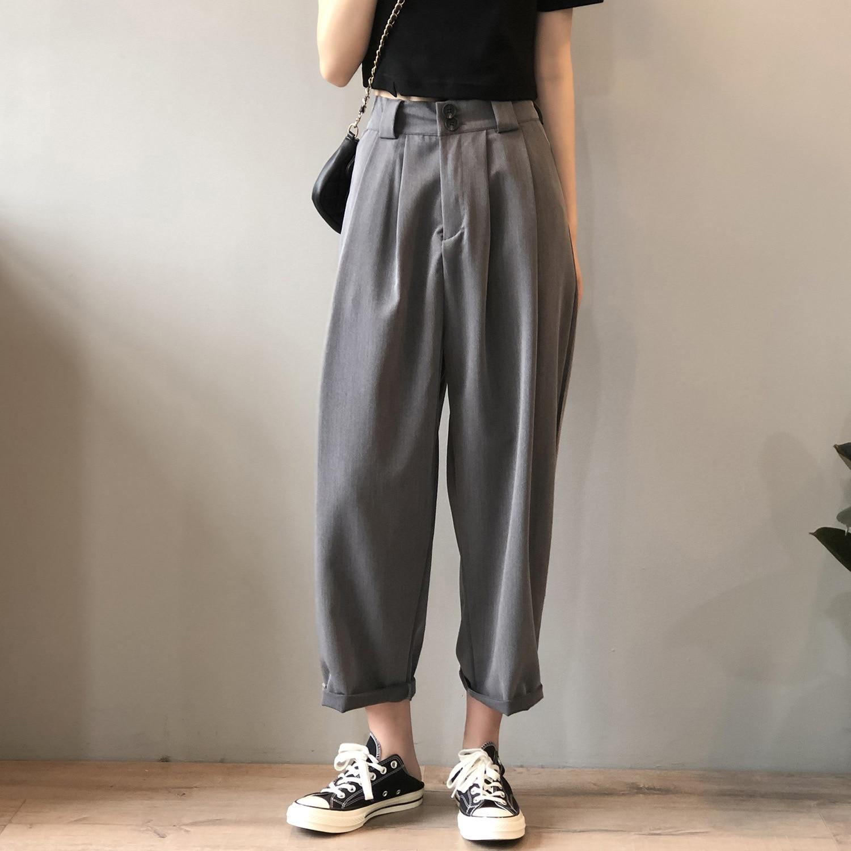 CMAZ 2021 Summer Harem Pants Women High Waist Casual Straight Pants New Fashion Office Lady Thin Loo