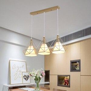 Nordic pendant lights three-head restaurant pendant light dining room lamp shop front bar creative single household light  WJ11