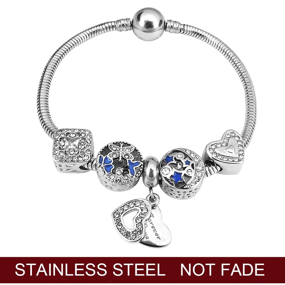 2020 New Crystal Beads Bracelets Bangles Silver Plated Charm Bracelets For Women Friendship Pulseras Fashion Girl Gift