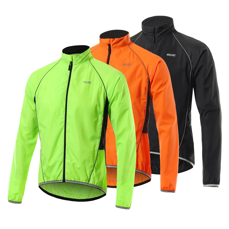 Hombres reflectante ciclismo chaqueta transpirable de manga larga bicicleta Jersey abrigo chaleco ropa deportiva al aire libre Jerseys rompevientos chaqueta abrigo