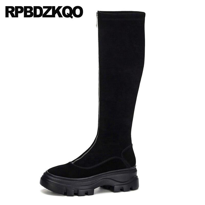 muffin knee high designer wedge platform shoes front zipper heel flatform brand women winter boots genuine leather long black
