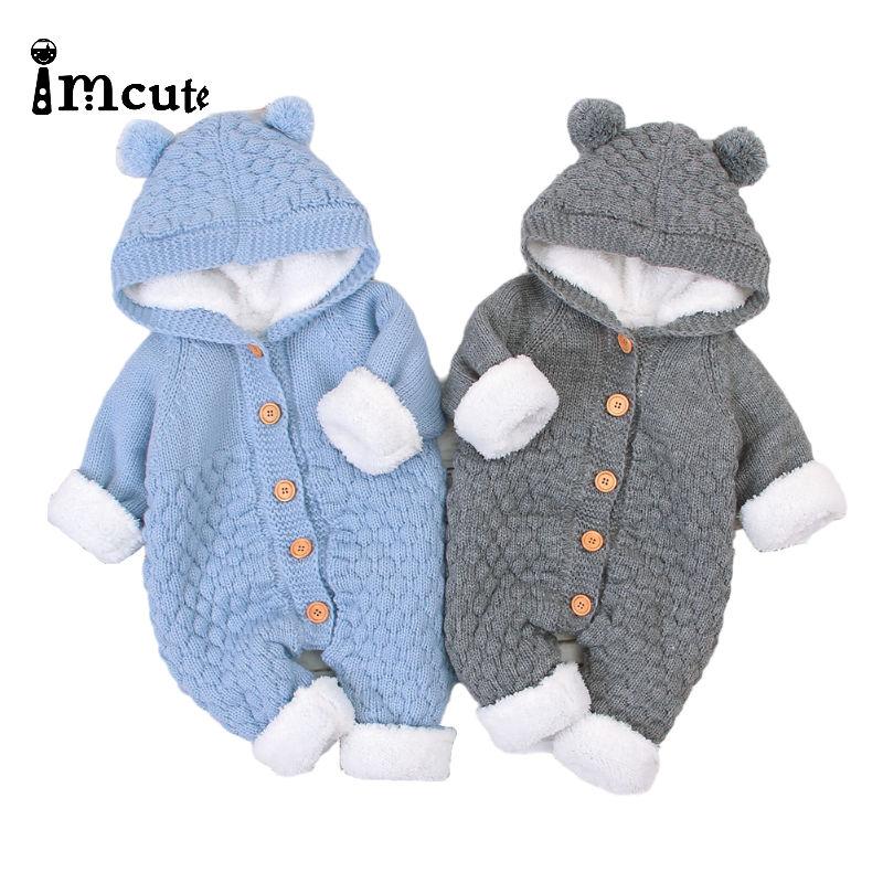 Mono Imcute de otoño invierno 2020, pelele tejido con capucha para bebé niña, jersey de manga larga con botones, mono liso de 4 colores de 0 a 24M