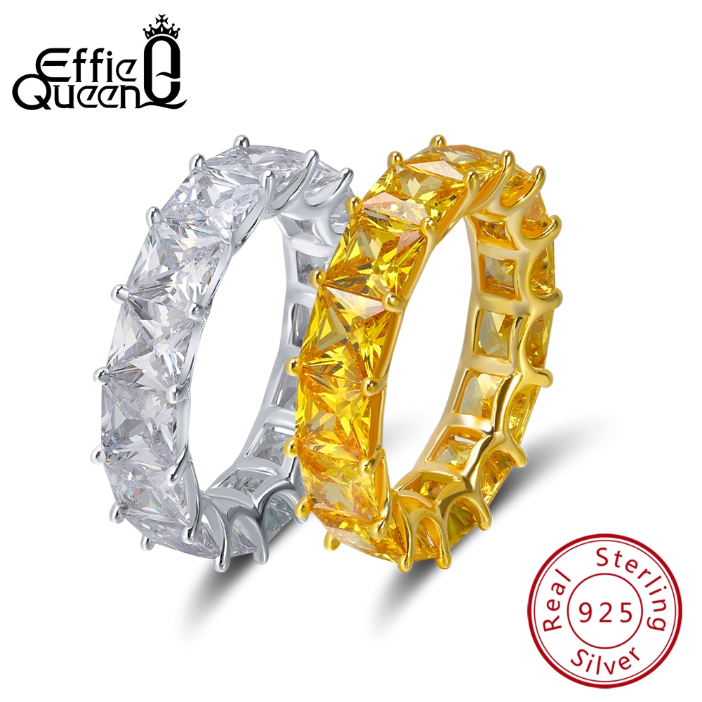 Anillo de plata 925 de lujo con cristal brillante para mujer Effie Queen, anillo de bodas de eternidad, regalo de fiesta, joyería al por mayor DSR48