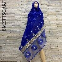 african women embroidery cotton splicing net scarf big size headscarf women hijab scarf on sales bm819