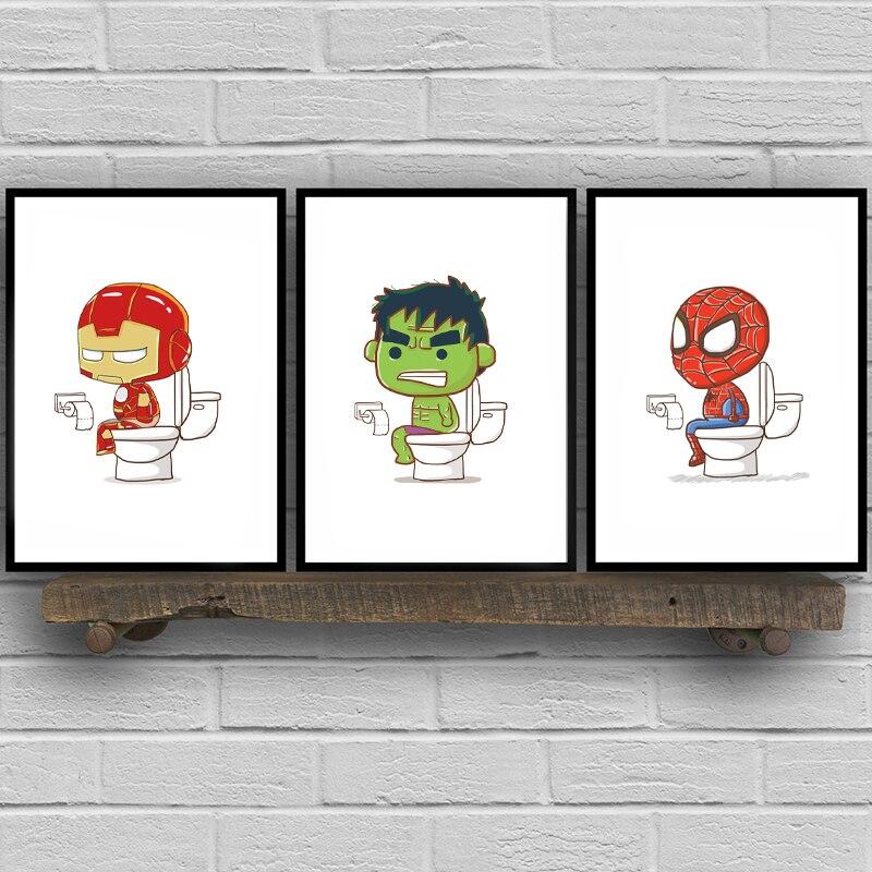 Pósteres e impresiones de superhéroes en lienzo de dibujos animados, regalo para niños, letrero de inodoro divertido de superhéroe, Arte de la pared Decoración de baño con pintura artística para WC