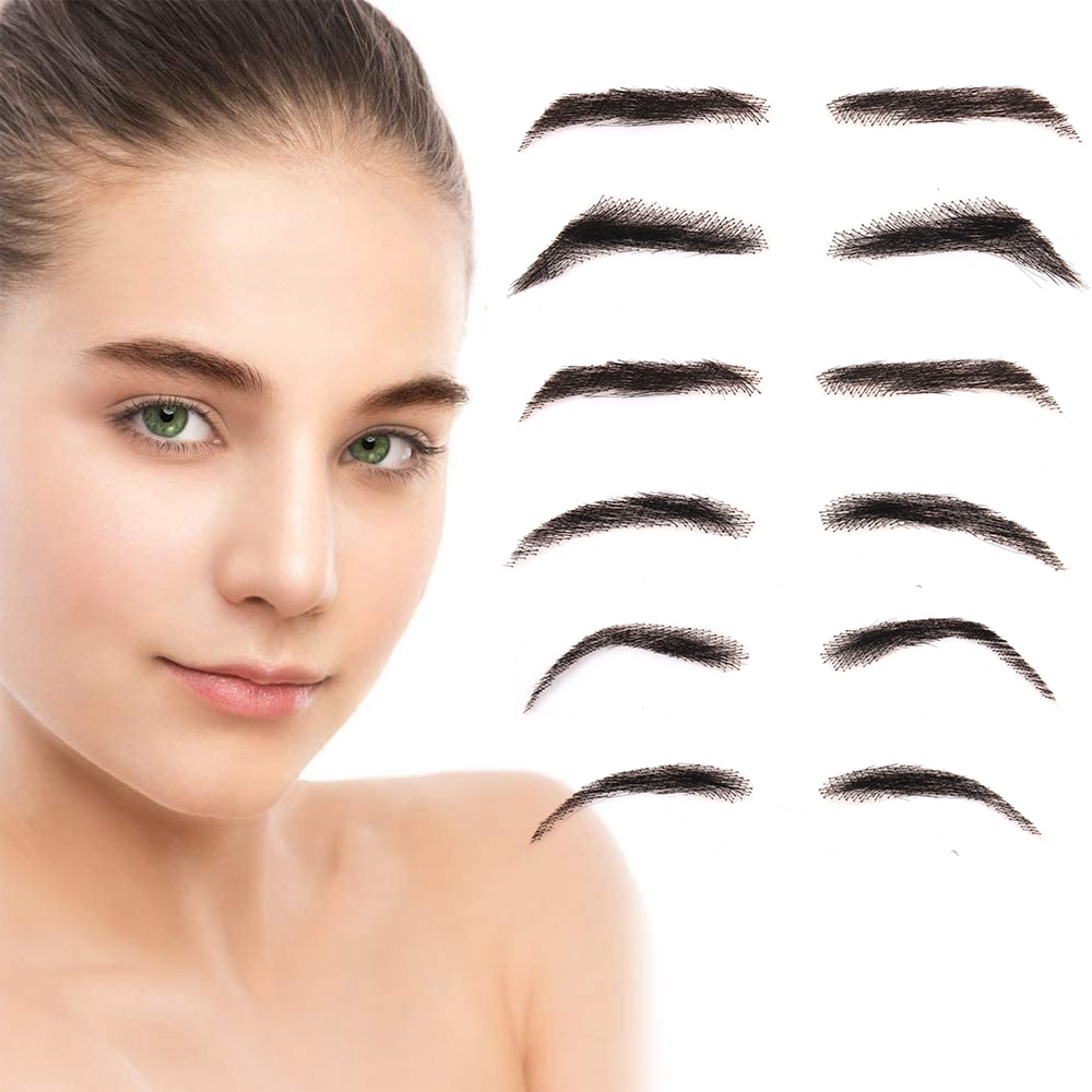 Liangmo falso eyebow mulheres ou homem cabelo humano brasileiro remy cabelo invisível artesanal falsas sobrancelhas mão amarrada falsas sobrancelhas