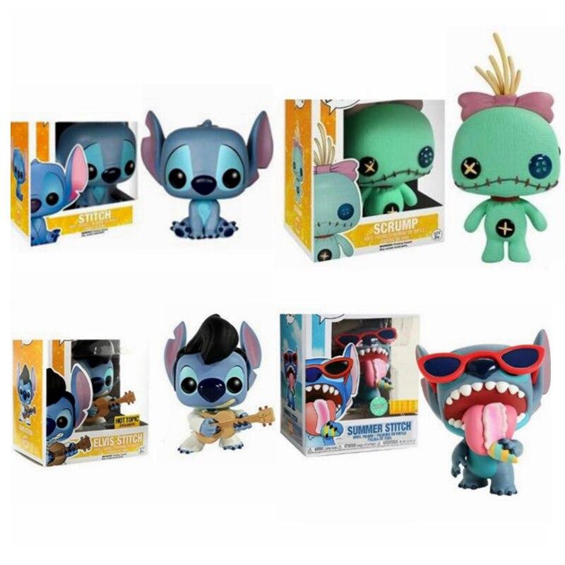 Disney Action Figure Scrump 126# Elvis Stitch 127# Summer Stitch 636# Collection Model Toys for Children Birthday Gift