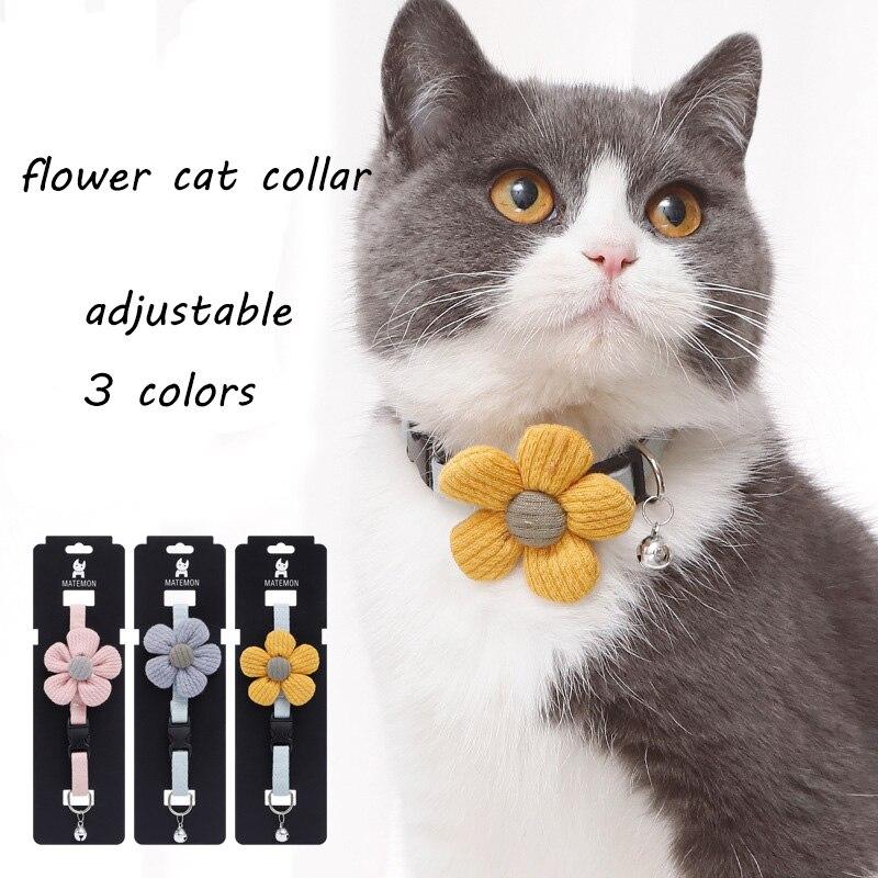 Colar de flores para gatos e cães pequenos colar de gato colar de gato com sino bowtie colar de gato para gatos e cães pequenos